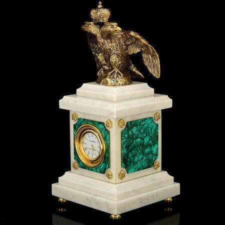 Eagle clock malachitemade of materials: Bronze , Malachite , Marble manufacturing technique Silver plated - handmade
